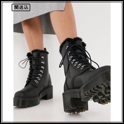 Dr Martens Leona fluff lined heeled ankle boots in black