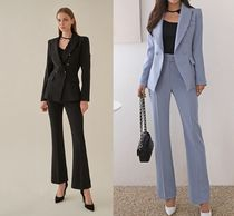 Spring Suit Set Double Jacket Bootcut Slacks Two Piece Set