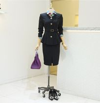 No Collar Jacket Front Open H-Lineskirt Two Piece