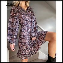 & Other Stories puff sleeve wrap mini dress in pink floral