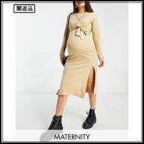 Missguided Maternity belted midaxi dress in taupe