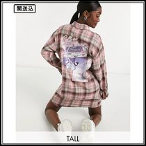 Missguided Tall shirt with pocket graphic in pink check