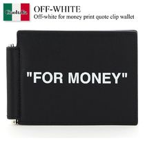 Off-white for money print quote clip wallet