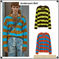 ANDERSSON BELLのUNISEX DESTROYED STRIPE CABLE SWEATER 全3色