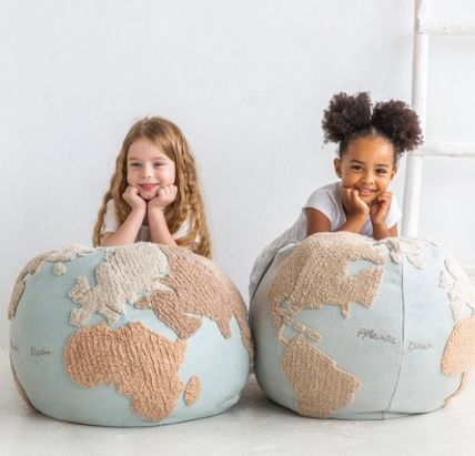 Lorena Canals クッション・クッションカバー 在庫少 関送込 LORENA CANALS World Map Pouf クッション(2)