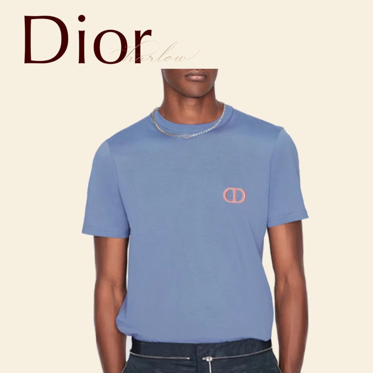 DIOR ICON Tシャツ トップス 半袖 綿 青 CD ロゴ 男 新作 直営店 (Dior/Tシャツ・カットソー) 64646160