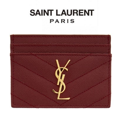 SAINT LAURENT  Red Quilted Monogramme Card Holder (Saint Laurent/カードケース・名刺入れ) 211418F037026