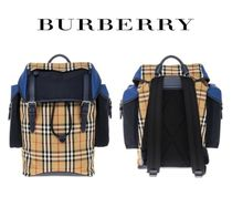 BURBERRY☆Color Block Vintage Check & Leather Backpack