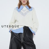 【Uterque】KNIT SWEATER WITH GUIPUR APPLIQUES