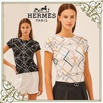HERMES☆マイクロ Tシャツ Parcours sans Faute プリント柄