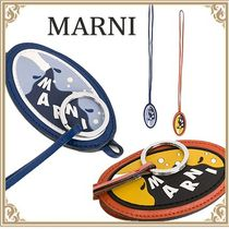 MARNI 新作 Men's Necklace with pendant Calfskin Blue/Orange