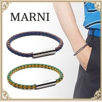 MARNI☆ Men's Woven Leather Bracelet Blue&Brown/Yellow&Green