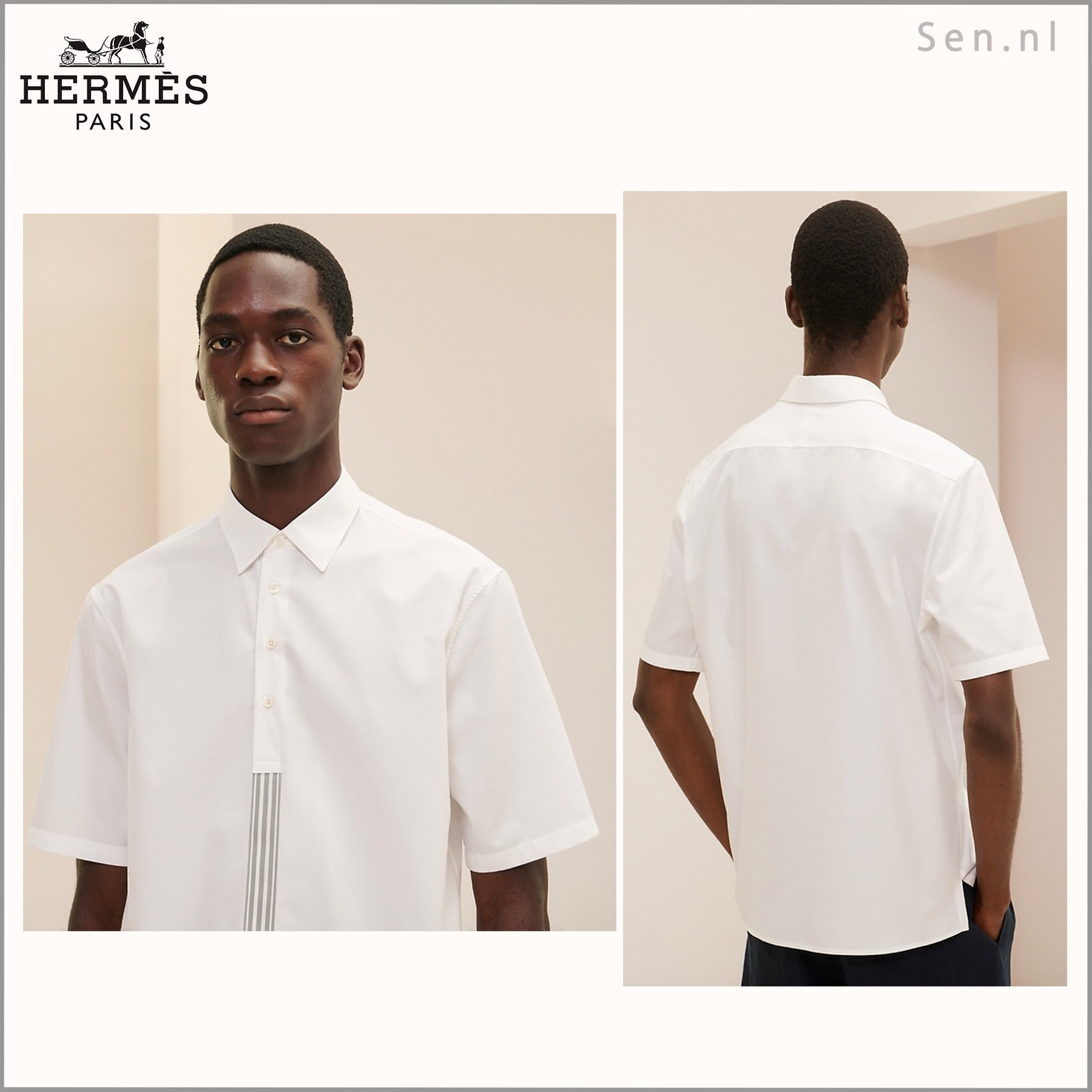 HERMES(エルメス) ポロシャツ《with striped ribbon detail》 (HERMES/シャツ) 64810351