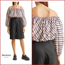 Merlette★Chalton Off-The-Shoulder Cropped コットンブラウス