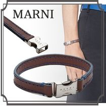 MARNI Leather Bracelet with Contrasting Stitching & Profile