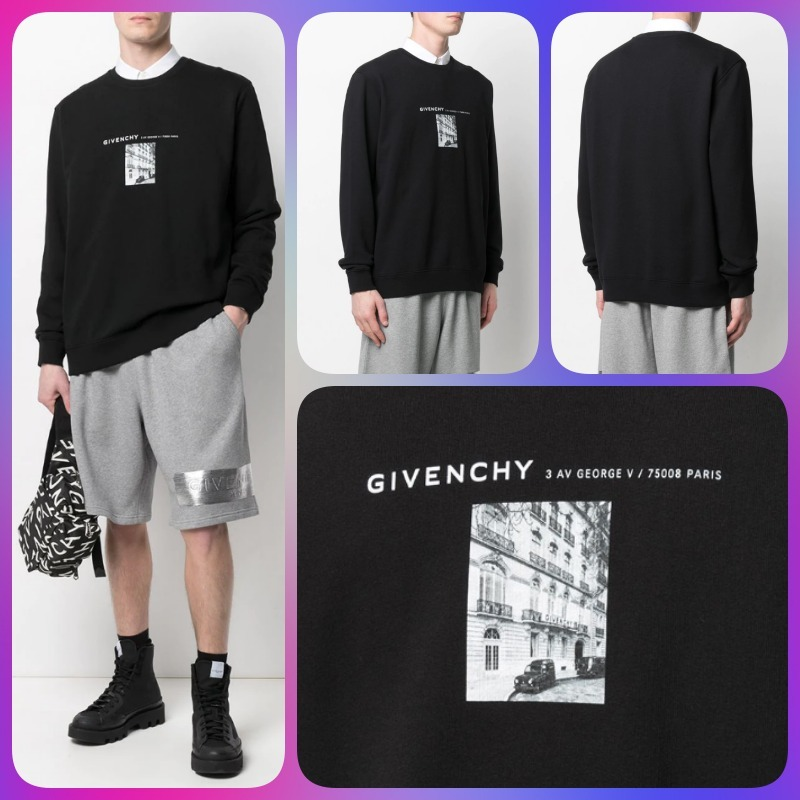 GIVENCHY SS21 ロゴレタリング フォトプリントスウェットシャツ (GIVENCHY/スウェット・トレーナー) BMJ0A930AF