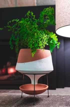 Anthropologie 花瓶・植木鉢 関税・送料込み☆Dipped Clay Pot + Stand(8)