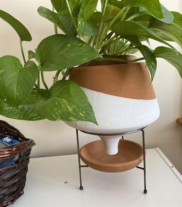 Anthropologie 花瓶・植木鉢 関税・送料込み☆Dipped Clay Pot + Stand(10)