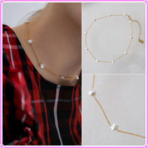 【MIDNIGHT MOMENT.】crumple pearl thin necklace (choker)
