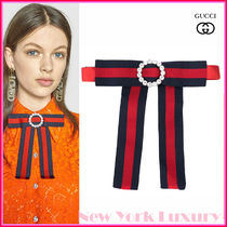GUCCI★素敵!Jewelled Grosgrain Web Neck Bow In Red In Blue