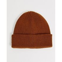 ASOS DESIGN 2 pack fisherman beanie in tobacco and
