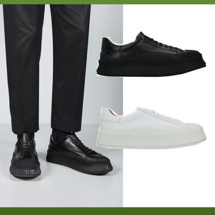 JIL SANDER★SMOOTH LEATHER AND RUBBER ロートップ スニーカー