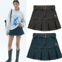 ★NASTY FANCY CLUB★[NF] DENIM PLEATS BELT SKIRT