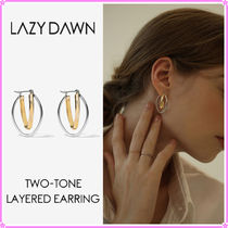 【LAZY DAWN】two-tone layered earring E011〜ピアス★ITZY着用