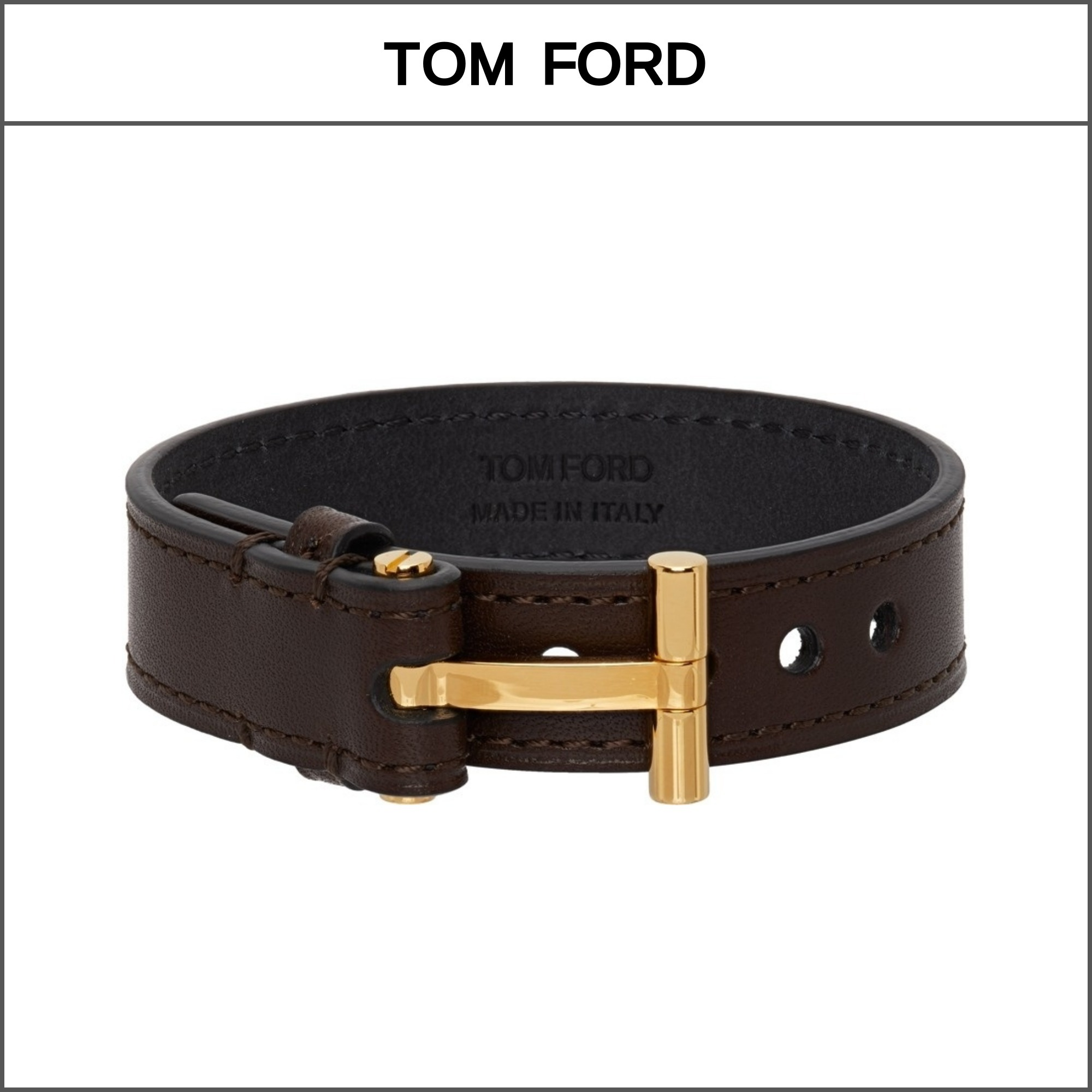 【TOM FORD】T-BUCKLE レザーブレスレット '関税込み' (TOM FORD/ブレスレット) 65029064