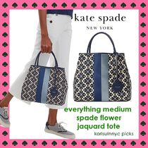 人気 Kate Spade*everything medium spadeflower Jacquard tote