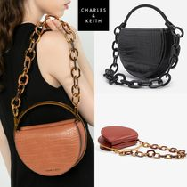 ★Charles & Keith★Crock Effect Circle Clutch Bag ★4色