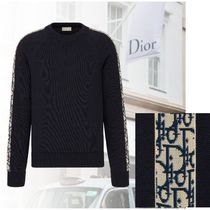 DIOR Sweater with Dior Oblique Inserts -Navy Blue Cotton