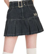 韓国人気item★DENIM PLEATS BELT SKIRT/全2色/NASTY FANCY CLUB