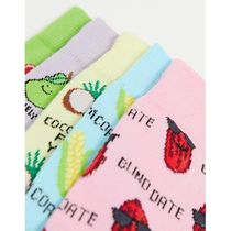 New Look 5 pack printed socks in light multi