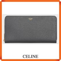 CELINE LARGE ZIPPED WALLET IN GRAINED CALFSKIN
