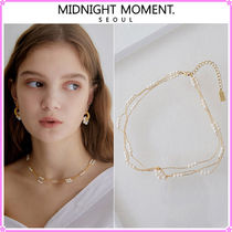 【MIDNIGHT MOMENT.】triple pearl and line necklace (choker)