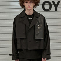 ★OY★CROP LEATHER MIX TRENCH JACKET-BLACK★正規品/直送料込