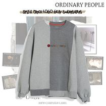 ORDINARY PEOPLE(オーディナリーピープル) スウェット・トレーナー ORDINARY PEOPLE - SMILE PATCH LOGO GREY SWEATSHIRTS
