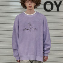 ★OY★SCRIPT LOGO SIDE ZIPPER KNIT-LAVENDER PURPLE★正規品