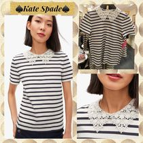 kate spade★レース カラー Tシャツ striped lace collar tee