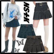 ★送料・関税込★NASTY FANCY CLUB★DENIM PLEATS BELT SKIR.T★