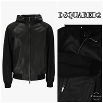 【DSQUARED2】 Leather Hooded Bomber Jacket