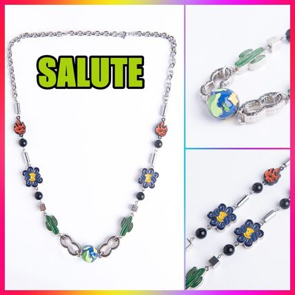 【SALUTE】3D EARTH COLOR CACTUS MULTI CHARMS NECKLACE