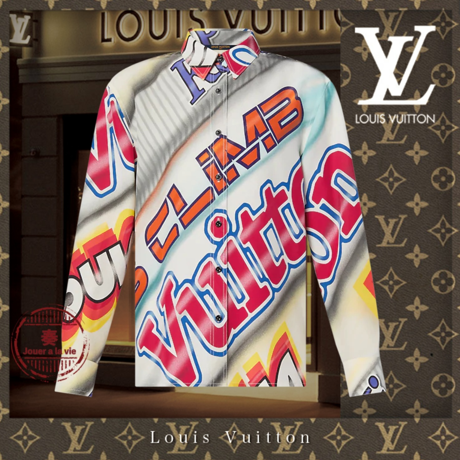 21SS 直営 Louis Vuitton ステートメントロングスリーブシャツ (Louis Vuitton/ブラウス・シャツ) 1A8S0N  1A8S0O  1A8S0P