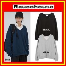 [Raucohouse] Deep V Neck Over Sweatshirt /3色/兼用/追跡付