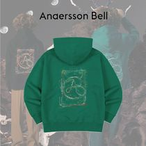 ANDERSSON BELL - UNISEX RAINBOW EMBROIDERY HOODIE GREEN