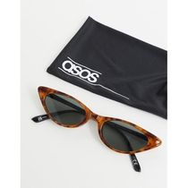 ASOS DESIGN cat eye sunglasses in tort with shiny