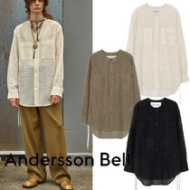 ★ANDERSSON BELL★COLLARLESS EMBROIDERY COTTON SHIRTS
