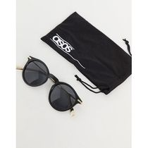 ASOS DESIGN round sunglasses with metal arms in sh