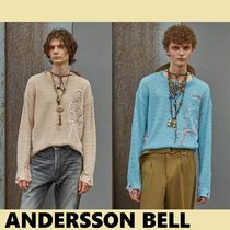 ★ANDERSSON BELL★限定UNISEX LINEN EMBROIDERY FACE CREWNECK
